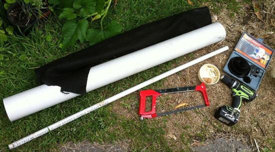 Компоненты для изготовления вертикальной грядки из трубы